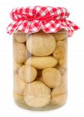 picture of crimini mushroom  - Jar of preserved table mushrooms - JPG
