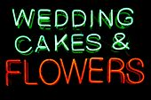 stock photo of matron  - Wedding cakes and flowers neon sign - JPG