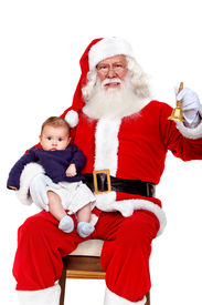 picture of santa claus hat  - Santa with a baby ringing his bell isolated on white - JPG
