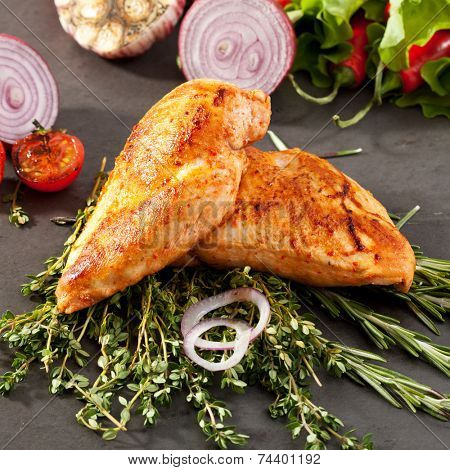 Fried Chicken Breasts with Rosemary and Vegetables