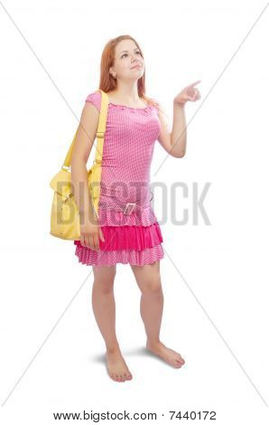 Girl  With Yellow Handbag  Pointing Away