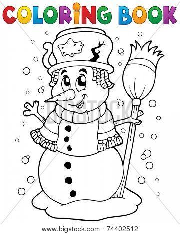 Coloring book snowman theme 1 - eps10 vector illustration.