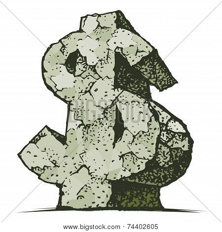 Vector hand drawn stone strong dollar sign