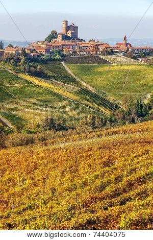 Yellow autumnal vineyards and small town on the hill in Piedmont, Northern Italy (vertical composition).
