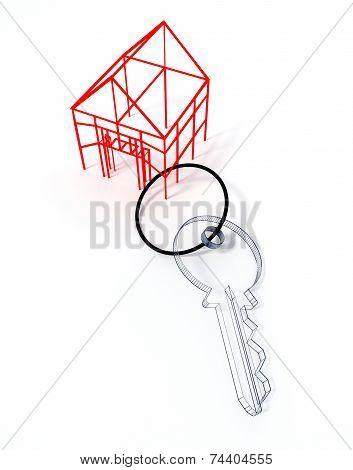 Wireframed keyring house