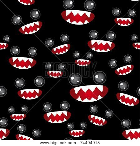 Seamless Pattern. Monsters Eyes And Toothy Mouth On Black Background