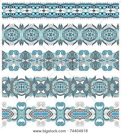 seamless ethnic floral paisley stripe pattern, border set, ukrai