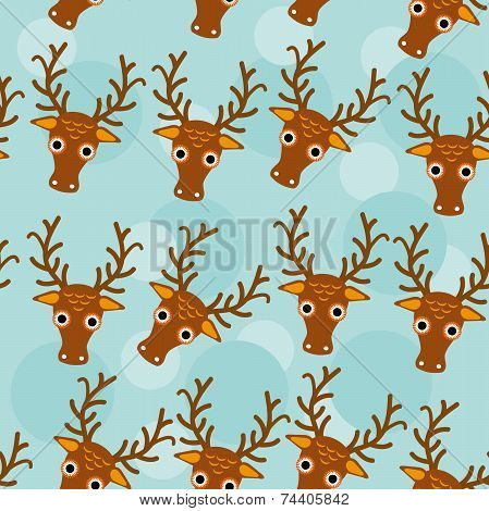 Deer Seamless Pattern With Funny Cute Animal Face On A Blue Background