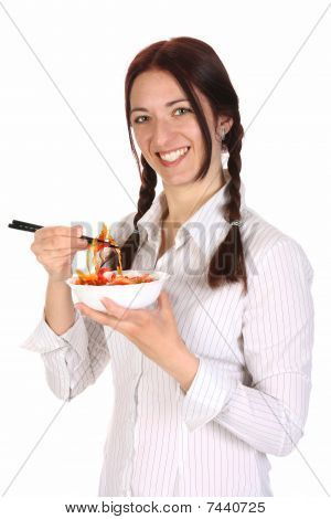 Beautiful Woman Eating With Chopsticks