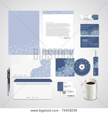 Soft Geometric Background Design For Corporate Identity Set