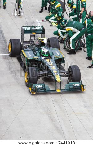 Kovalainen pits for tires at the Malaysian F1