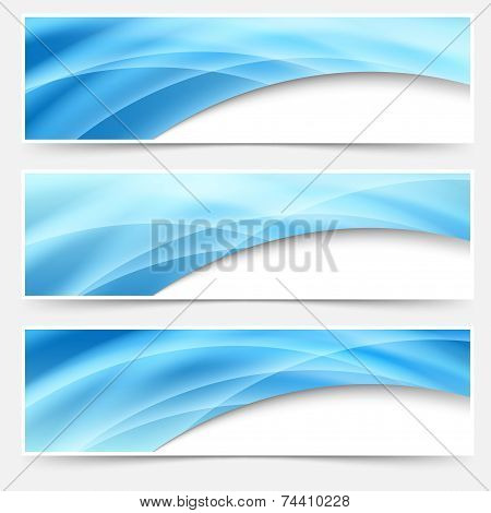 Blue Glow Swoosh Line Header Footer Set