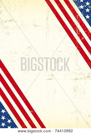 Dirty American flag super poster. A grunge greeting background of America for your event