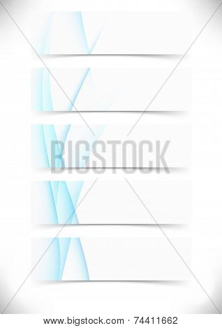 Blue Smooth Wave Lines Cards Set - Web Footer