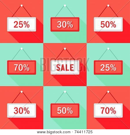 Sale 25 30 50 And 70 % Sign Icons Set