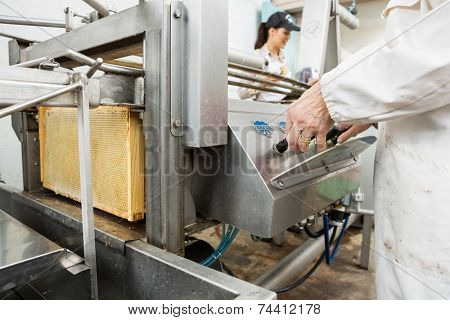Midsection of senior female beekeeper operating honey extraction plant in factory