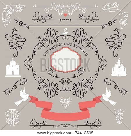 Vintage Wedding design elements.Romantic set