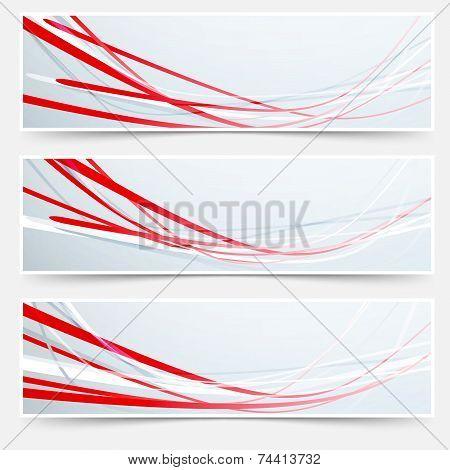 Bright Red Speed Rapid Swoosh Stream Line Header