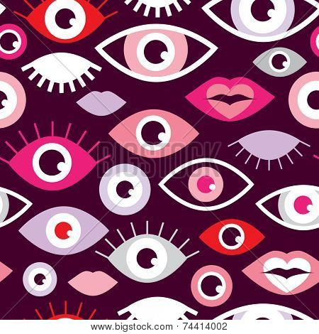 Seamless eyes and lips love for valentine fun retro style illustration background pattern in vector