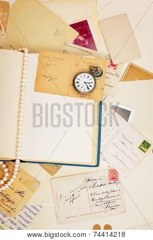 open empty vintage book