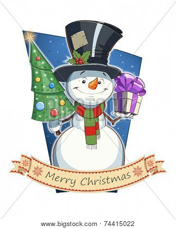 Snowman with gift and firtree. Christmas character. Eps10 vector illustration. Isolated on white background