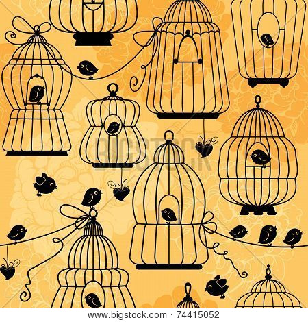 Seamless Pattern With Decorative Bird Cage Silhouettes On Floral Background. Ready To Use As Swatch.