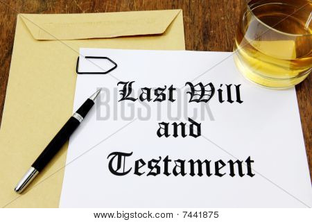 Last Will And Testament And Glass Of Whiskey