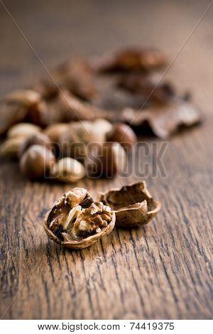 Nuts On Hardwood Table