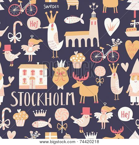 Stylish Stockholm concept seamless pattern in vector. House, church, gnome, birds, moose, bicycle, horse and other Stockholm symbols in bright colors.
