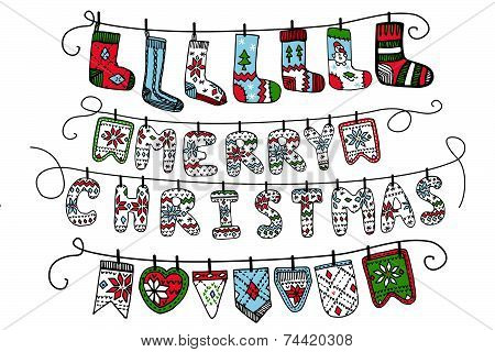 Christmas garland of knitted letters,flags,socks