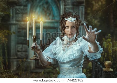 Girl With A Candelabra In Hand Terrifies.
