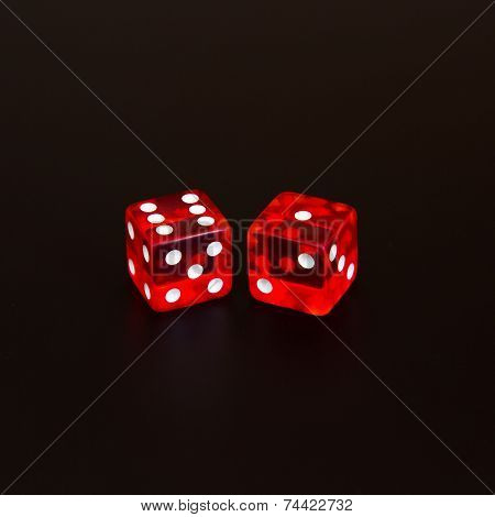 dice isolated on black background