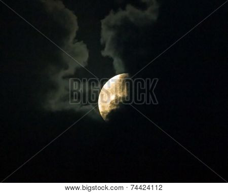 Supermoon Partly Hidden By Clouds