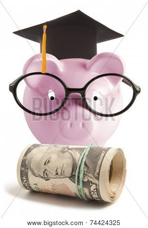 Piggy bank with graduation hat. Isolated on white background