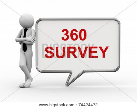 3D Businessman With Speech Bubble - 360 Survey