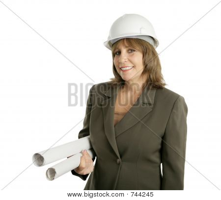 Female Engineer with Blueprints