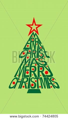 Merry christmas typography card with letting  shaped in christma
