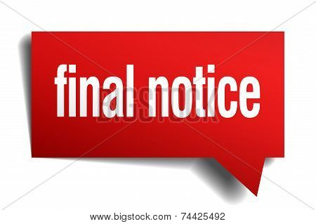 Final Notice Red 3D Realistic Paper Speech Bubble