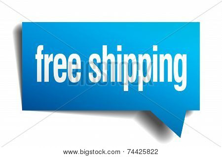 Free Shipping Blue 3D Realistic Paper Speech Bubble