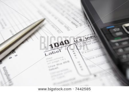 1040 Tax Return Form Smartphone And Pen