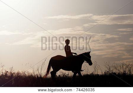 Man astride horses against a rising sun