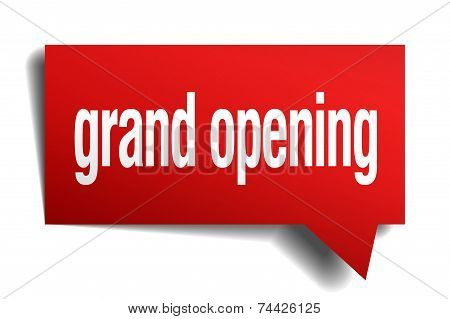 Grand Opening Red 3D Realistic Paper Speech Bubble
