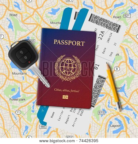 International passport, boarding pass, tickets with barcode and key on the map seamless background