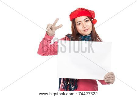 Asian Girl With Red Christmas Hat Show Blank Sign And V Sign