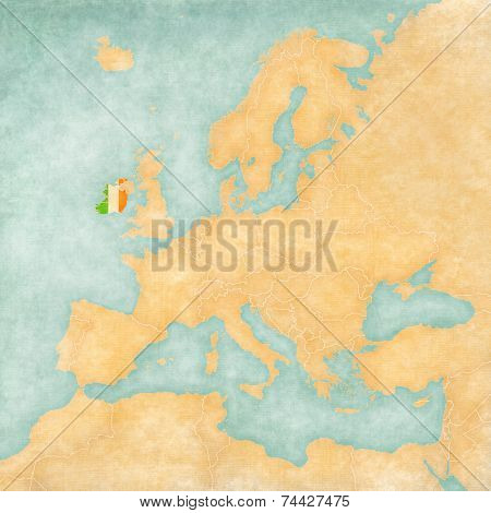 Map Of Europe - Ireland (vintage Series)