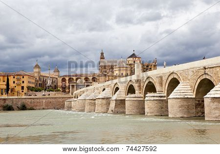 Roman Bridge or Old Bridge over the River Guadalquivir. Cordova. Spain.