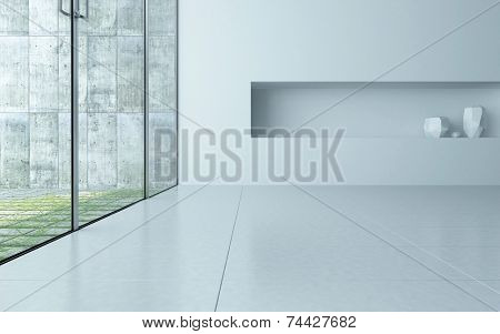 3D Rendering of Modern style empty room interior with white walls and floor and an alcove