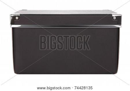 Side of black carton box iron corner on white background.