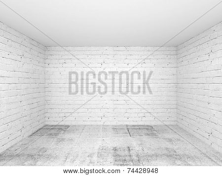 Empty White 3D Room Interior Background
