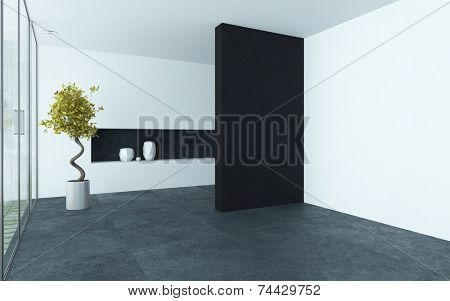 3D Rendering of Modern style empty room interior with black and white walls, alcove and a dark stone floor